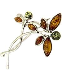 Les Trésors De Lily [P3329] - Broche de plata 'Libellules' ámbar 2 tonos (rodio).