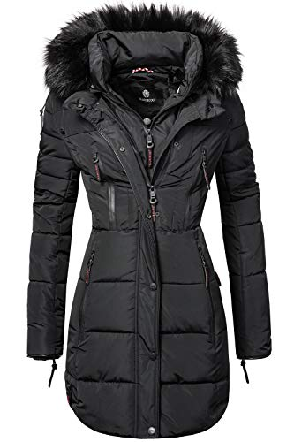 Marikoo Damen Winter Mantel Steppmantel Moonshine (vegan hergestellt) Schwarz Gr. XL Warme Winter-jacke