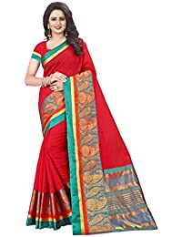 [Sponsored]Ecolors Fab Women's Cotton Silk Saree With Blouse Piece (RED)