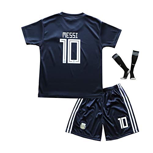 Argentinien Fußball Trikot (BTA APPAREL 2018/2019 Argentinien #10 Lionel Messi Ausweichtrikot Kinder Fußball Trikot Hose und Socken Kindergrößen (10-12 Jahre))