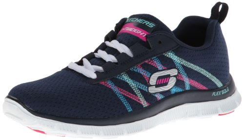 Skechers Flex Appeal Something Fun Women's Fitness Shoes, Blue (NVMT), 4 UK