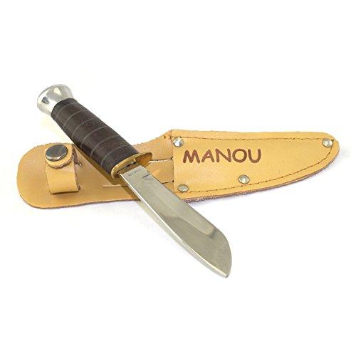 EDUPLAY 140-004 Kinder Schnitzmesser mit individueller Gravur, Ledergriff & Lederscheide, braun/natur/silber (1 Stück)