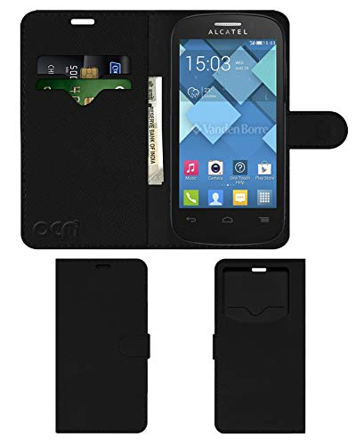 Acm Leather Window Flip Wallet Front & Back Case for Alcatel Pop C3 Mobile Cover Black