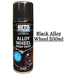 Auto Extreme Automotive Alloy Wheel Spray Paint Black Bike Van Auto Paint 200ml (1)