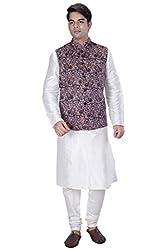 KISAH Men's White Cotton Silk kurta and Churidar with Grey Velvet Nehru Jacket