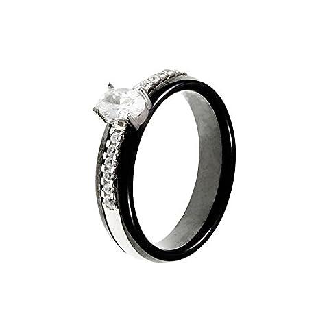 Mes-bijoux.fr - Bague Femme en Céramique Noire et Argent 925/1000 - 7BY334BAgv_52