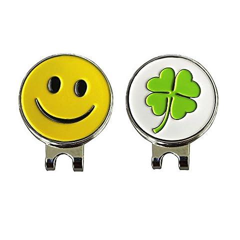 Marqueur de balle de golf magnétique avec clip pour casquette, un couple–pinmei, Clover and Smile Ball Markers