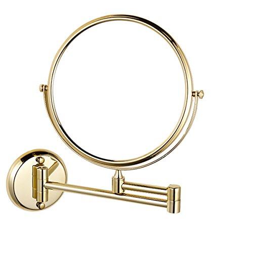 HQdeal Espejos de Pared Espejo de Baño Espejo de Aumento Doble Eje 360 ° Giratorio Extensible Espejo para Maquillarse Redondo- Vintage Dorado
