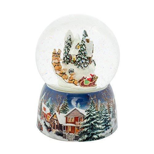 Roman Holiday Village Haus Musical Snow Globe Water Dome mit rotierenden Weihnachtsmann in Schlitten Spielt, auf Dem Dach, 17,1cm