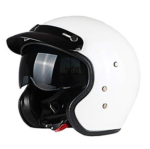Mmsww Echtes Motorrad Retro Scooter Motorrad Fiberglas Helm Halb Helm Retro-Helm Mit Eingebautem Objektiv,D,M