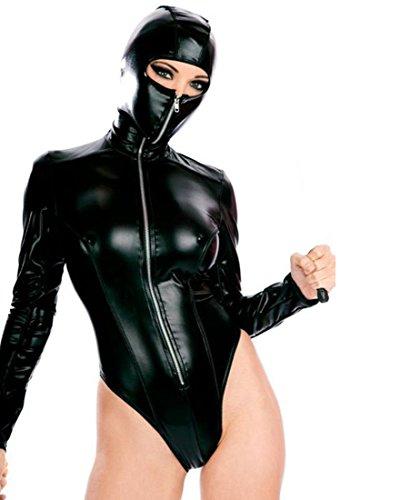 Mann Kostüme Maskierter (DuuoZy Frauen reizvolle Faux-Leder-Wäsche-Reißverschluss-Front Maskierte Cosplay mit Kapuze Bodysuit , black , one)