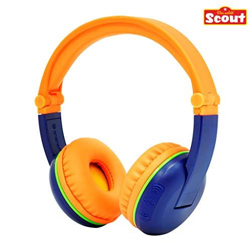 Kabellose Bluetooth Kopfhörer für Kinder - BuddyPhones Scout Play | Verstellbare Lautstärkebegrenzung zu 75, 85, 94 dB | Faltbar mit 14h Batterielaufzeit, Farbe:blau/orange