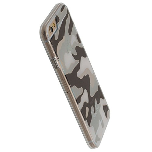 iPhone 6S Plus Doux Étui de protection, Camouflage Motif Série Coque de Protection Case pour Apple iPhone 6 Plus / 6S Plus 5.5 inch Transparent Svelte Poids léger Case blanc