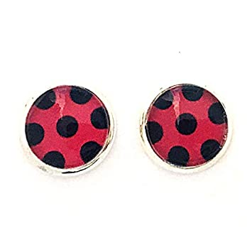 Mädchen Ohrclips/Ohrstecker 10mm Motiv rot schwarze Punkte lady-bug kostüm handmade Ohrklemme silber Glas-Cabochons Mira…
