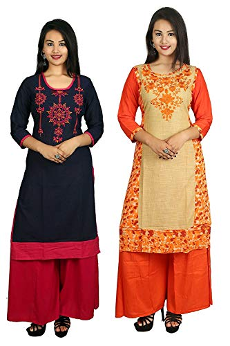 Flying Hearts Cotton Straight Kurti Combo Pack of 2