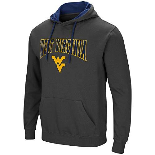 Colosseum Herren NCAA-Scoreboard-Dual Blend-Fleece Kapuzenpullover Sweatshirt mit Tackle Twill Bestickt Teamname und Logo, Anthrazit, Herren, West Virginia Mountaineers, X-Large -
