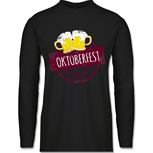 Shirtracer Oktoberfest Herren - Vintage Stempel Oktoberfest 2018 - Herren Langarmshirt Schwarz