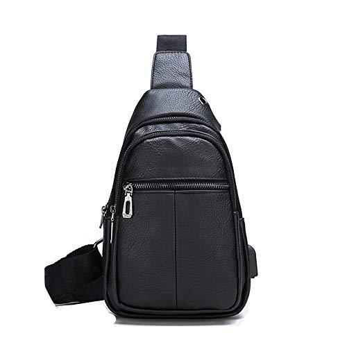 Schnalle Baguette-handtasche (MLpus Korean Style Umhängetasche USB-Lade Rucksack Mode Reise Umhängetasche Herren Trend Umhängetasche (Farbe : SCHWARZ))