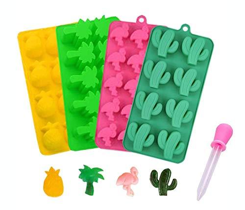 Depory 4 Packungen mit 1 Tropfer Multi Silikon-Formen für Süßigkeiten Kaktus Flamingo Kokosnussbaum und Ananas für die Herstellung von Süßigkeiten Gelee-Zucker Schokolade Eiswürfelform -