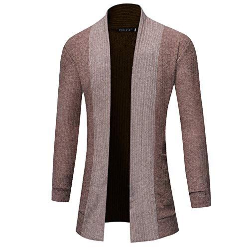 Zyh Herrenmantel, Fashion Solid Color Cardigan Mittellang Vielseitig Pullover V-Ausschnitt Langarm Casual Sweatshirt Herbst und Winter B, Größe : M