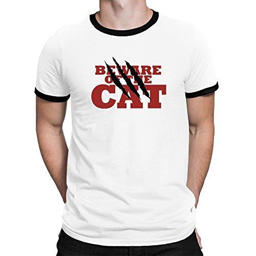 Teeburon Beware of the Cat Ringer T-Shirt (T-shirt Ringer Cat)