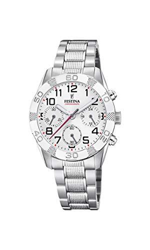 Festina Unisex Child Chronograph Quartz Watch with Stainless Steel Strap F20345/1