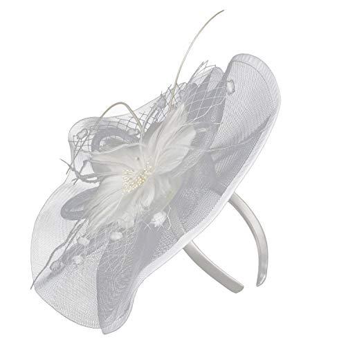 egante Blumen Polka Punkt Mesh- Netz Schleier Feder Fascinator Haar Klipp Hut Hochzeit Cocktail Ocktail Hut ()