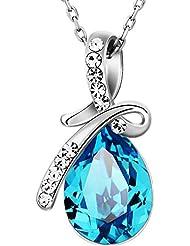 Neoglory Swarovski Elements Collar Colgante Mujer Lazo Gota Lágrima de Cristal Austriaco Azul Brillantes Rhinestones Checos Joya Original Regalos para Mujer