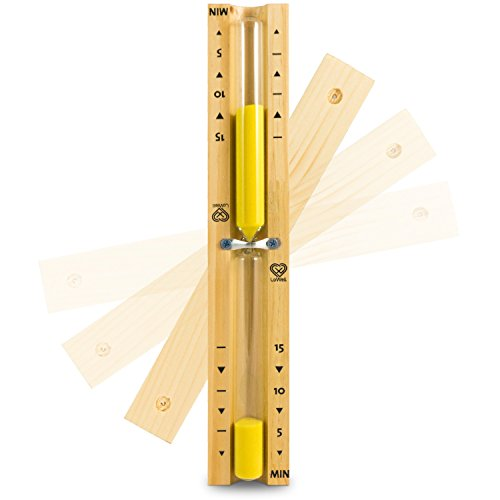 Lowell ❤ - Saunauhr - Sauna Sanduhr aus natürlichem Kiefernholz - gelber Sand - hitzebeständiges Glas - Sand-Timer, Zeitmesser, Stoppuhr - hochwertiger Sand - Farbe Gelb - 15min
