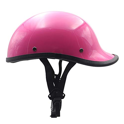 QXFJ Jethelm Helm Jethelm Motorradhelm Roller Helm Hautfreundlich Futter Motorradhelm Leicht Tragbarer Helm Schnalle Modisch Unisex WeißEs Rosa Mattschwarzes Helles Schwarzes - Hell Rosa Futter