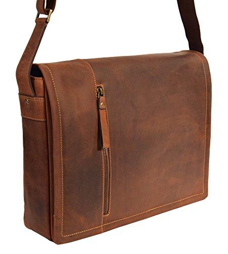 Herren Messenger Leder Tasche Laptop Büro Uni College Vintage Schulter Schulranzen HLG120 Öl Hellbraun (Klappe Schulter Medium)