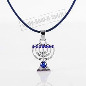 MENORAH Collier BLEU avec pendentif Bijoux Judaïque de Kabbale