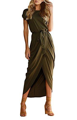 Yieune Sommerkleid Damen Lose Abendkleid Einfarbig Maxikleider Elegant Lange Strandkleid (Grün S)