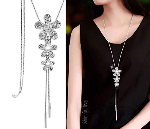 Shining Diva Fashion Jewellery Pendants for Girls with Long Chain Pendent Party Necklace for Women & Girls(Silver)(9269np)