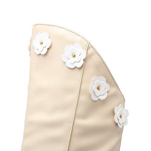 AgooLar Femme à Talon Correct Couleur Unie Rond Zip Bottes avec Décoration Floral Beige
