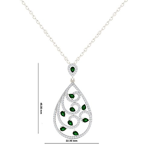 His her diamonds 925 sterling silver diamond and emerald pendant aloadofball Images