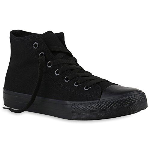 Stiefelparadies Damen Schuhe Sneakers Sneaker High Basic Schuhe Stoffschuhe 145021 Schwarz Schwarz Brito 43 Flandell -