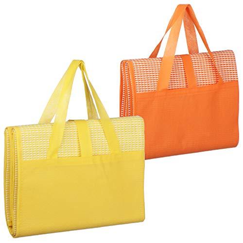 com-four® 2X Picknickdecke 90 x 175 cm - Ultraleichte Stranddecke, faltbar mit Tragegriff ideal als Campingdecke oder Strandmatte (02 Stück - Gelb/Orange)