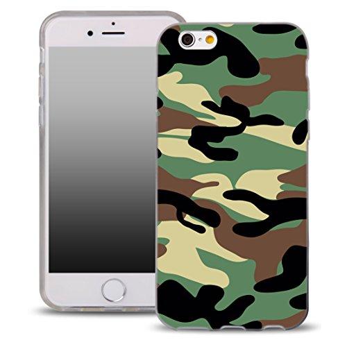 OOH!COLOR Handyhülle für IPHONE 5 und 5S, SE mit Holz MTE014 Motiv Silikon Case Flexibele Tasche Design Schutzhülle Elastisch Etui Cover HMI008 Khaki
