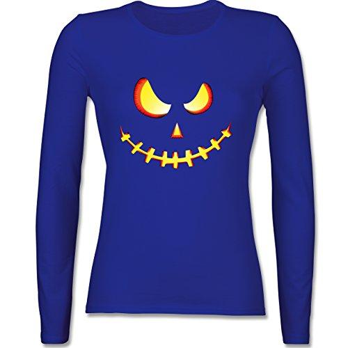 - Gruseliges Kürbis-Gesicht - XL - Royalblau - BCTW013 - Damen Langarmshirt (Günstige Vampir Kostüme Für Frauen)