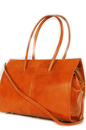 Leder Damen Business- / Akten-/ Laptoptasche mit Schulterriemen Italy Mod.2026-p Cognac