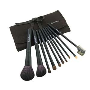 Colorshine Kit pinceaux et applicateurs de maquillage 10 pièces avec étui en cuir Noir/marron