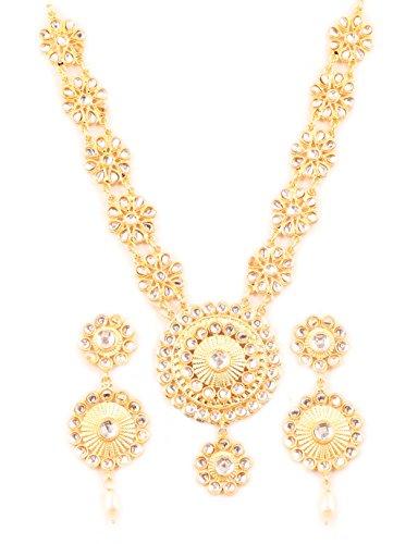 Touchstone Padmavati Sammlung indischen Bollywood Kundan Polki Look floral grand Designer Hochzeit Schmuck Halskette Set für Damen Goldton