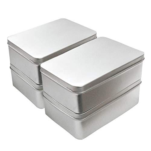 Grätz Verlag Blechdosen, Metalldose 4 Stück als Set, Eckig mit Deckel (Stülp-Deckel ohne Schanier), 10cm x 14cm. Leere Box zur Aufbewahrung oder zum Basteln aus Weissblech. Silber, Rechteckig.