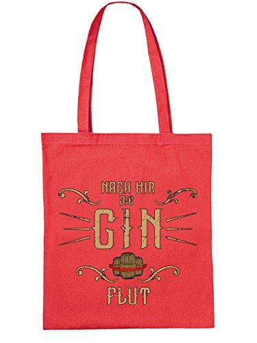 clothinx Einkaufstasche Nach mir die Gin Flut Rot