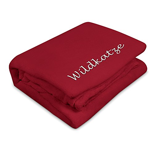 Kuscheldecke mit Namen Wildkatze bestickt - Farbe Rot - personalisierte Decke, Wolldecke