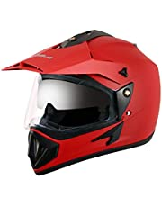 Vega Off Road OR-D/V-DR_M Full Face Motocross Helmet (Dull Red, M)