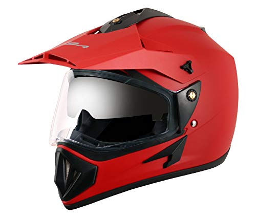 Vega Off Road OR-D/V-DR_M Full Face Motocross Helmet (Dull Red, M)