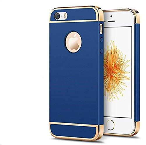 Coque iphone SE étui Qissy® 3 en 1 Bumper Placage Détachable Spécialement Design PC Ultra Mince Léger Hard Case Pour iphone SE 5s 5 4.0 Pouces Bleu