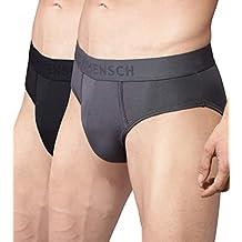 DAMENSCH Men's Micro Modal Brief (Pack of 2) - Blayze Grey, Wayn Black - (100% Refund if NOT satisfied)